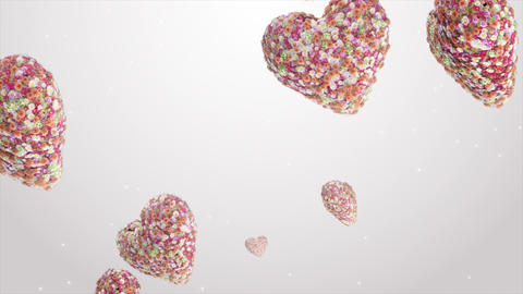Falling hearts of flowers GIF