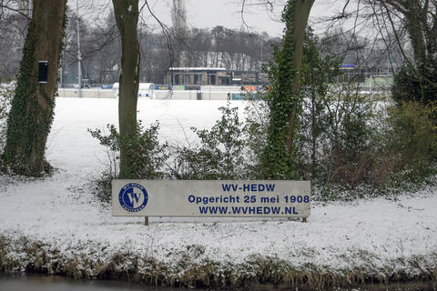 Snow On The Football Field Of The WV-HEDW Club At Amsterdam The Netherlands 2018 Photo
