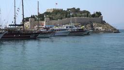 Turkey Aegean coast Aydin Province Kusadasi the Pigeon Island with its fortress Footage