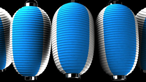 Blue and white paper lanterns on black background Animation
