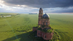 Old Abandoned Red Brick Church Footage