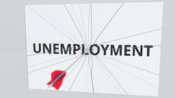 UNEMPLOYMENT text plate being hit by archery arrow. Conceptual 3D animation Live Action