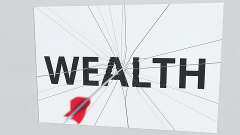 Archery arrow hits glass plate with WEALTH text. Conceptual 3D animation Live Action