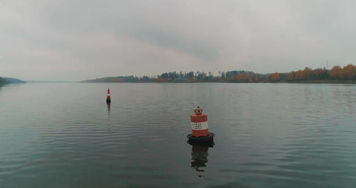 Buoy on the river Stock Video Footage
