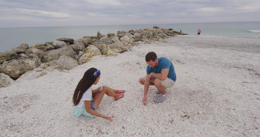 Shelling - People looking for Seashells on beach Live Action