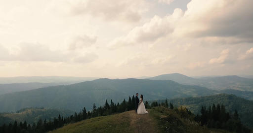 Bride and groom on the mountain in the Carpathians, aerial video Footage
