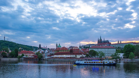 Prague city skyline with view of Vltava River in Prague, Czech Republic day to Footage
