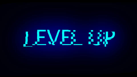 Letters of Level up text with noise on black, 3d render background, computer Footage