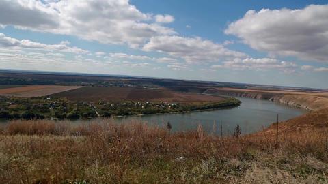 Panorama view on the Dniester river, Ukraine ビデオ