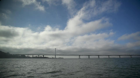 San Francisco Golden Gate Bridge , view from the sailing ship Footage