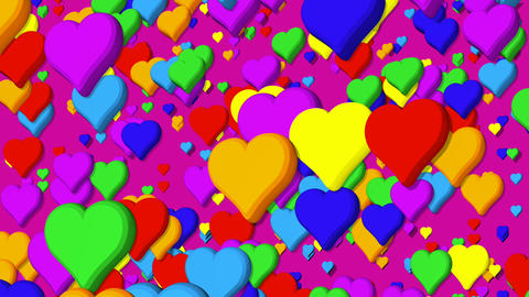 Background of hearts beating floating upwards with rainbow colors on violet Animation
