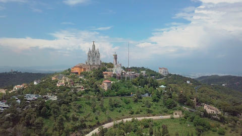 Panorama of Barcelona timelapse from Mount Tibidabo. Catalonia, Spain Footage
