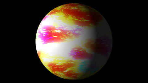Slow Boiling Yellow Red Colorful Planet Sun Globe Alpha 2 Animation