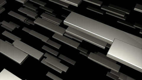 Many 3D metallic blocks are in space, computer generated modern abstract GIF