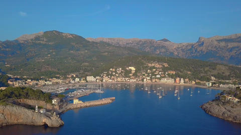 Port Soller on the coast of Mallorca aerial view 영상물