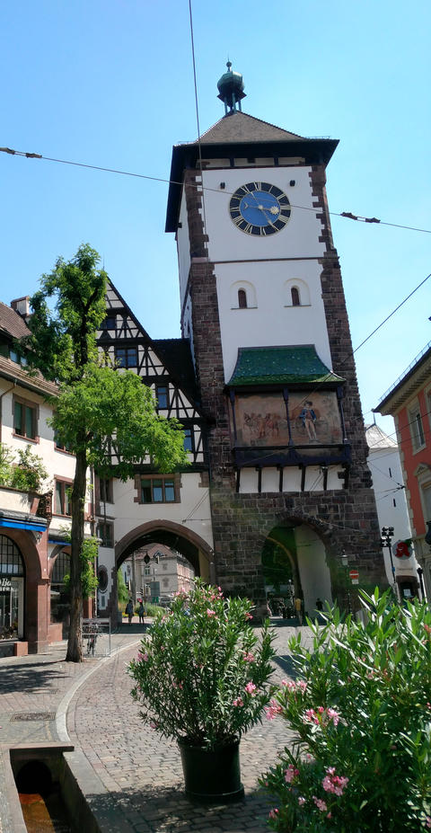 Old Medieval Tower Gate in the beautiful city Freiburg in Germany Fotografía