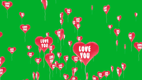 Red balloons ws heart shape flies on green chroma Animation