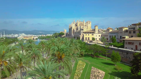 Aerial view of the promenade and the cathedral of Palma de Mallorca in Majorca ビデオ
