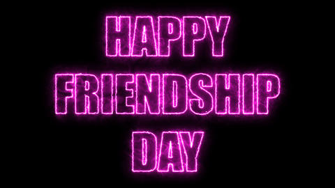 Burning letters of Happy friendship day text, 3d render background, computer Footage