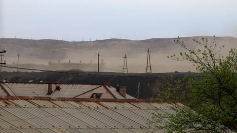 Dust storm over an half-abandoned village Footage