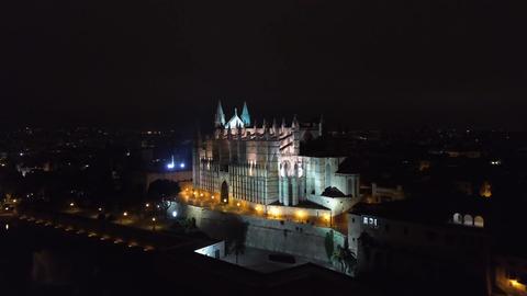 Aerial view at night. Palma Cathedral of Santa Maria at night in Palma Mallorca Footage