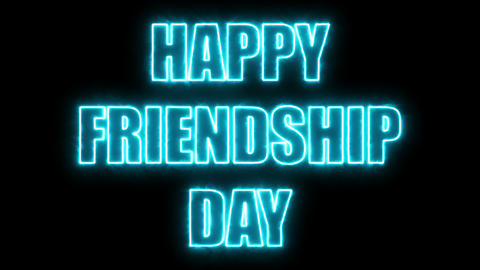 Burning letters of Happy friendship day text, 3d render background, computer Live Action