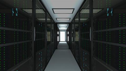 Modern server room interior in datacenter, web network and internet Footage