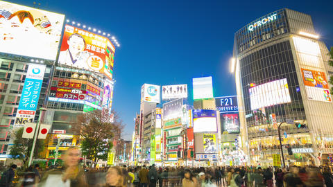 Day to night time lapse in Shibuya area landmark in Tokyo, Japan Footage