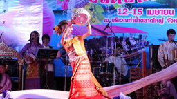 Student dances a traditional Dance at Songkran,Ubon Ratchathani,Thailand Footage