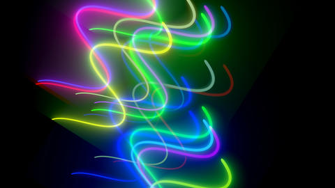 Wavy neon lins are in dark space, computer generated modern abstract background Footage