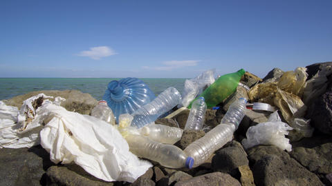 Dirty plastic bottles on the stone beach. Environmental pollution Footage