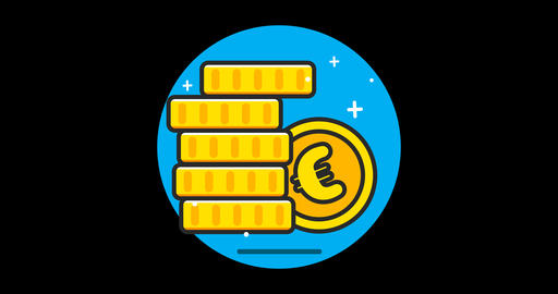 Money (Euro) Premium flat icon animated with alpha channel Live Action