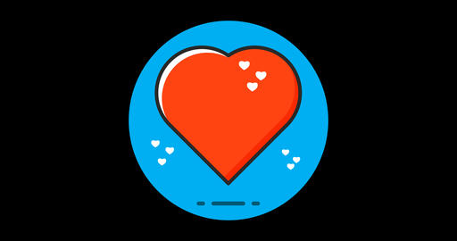 Heart Premium flat icon animated with alpha channel Live Action