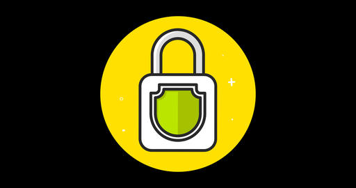 Lock (Closed-Open) Premium flat icon animated with alpha channel Live Action