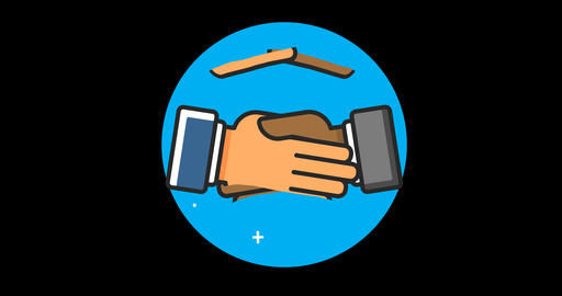 Handshake (International) Premium flat icon animated with alpha channel GIF
