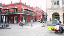 Jackson square, Chartres, St Peter streets, New Orleans, Louisiana with people Footage