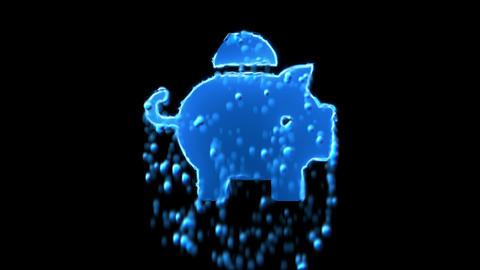 Liquid symbol piggy bank appears with water droplets. Then dissolves with drops Animation
