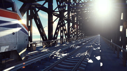 High speed train, the train passes on the railway bridge at sunrise. Public Animation