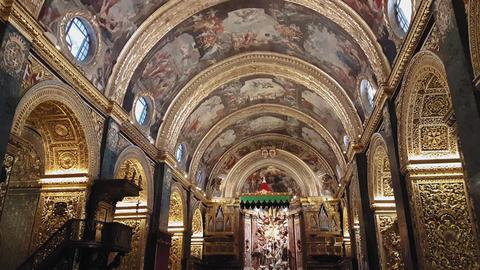 Valletta, Malta Saint Johns Co-Cathedral interior detail Footage