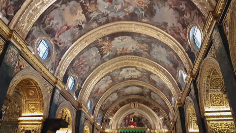Valletta, Malta Saint Johns Co-Cathedral interior detail Stock Video Footage