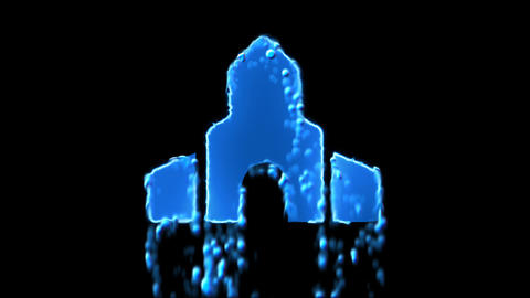 Liquid symbol place of worship appears with water droplets. Then dissolves with Animation