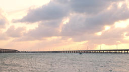 Sunset clouds in Bahia Honda State Park in Florida Keys with boat Footage