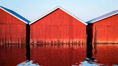 Red boathouses cinemagraph Footage