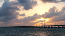 Dramatic cloudy sunset in Bahia Honda State Park in Florida Keys Footage