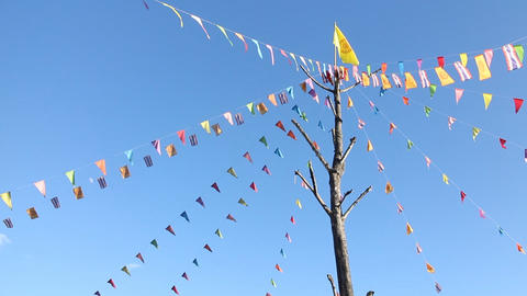 Prayer flags flying in the wind, Thailand Footage