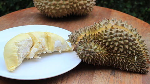 Serving Delicious Thai Durian Fruit Footage