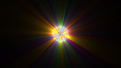 Small Glowing Rays Ball Multicolored Yellow Orange Motion Background Loop Animation
