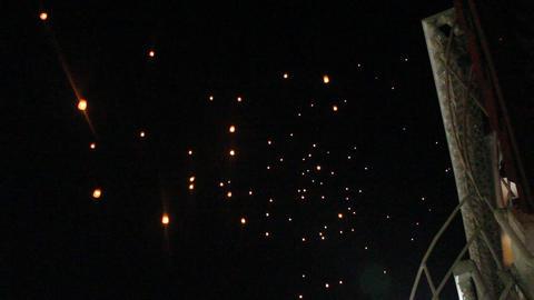 Floating fire lantern during loy krathong festival Footage