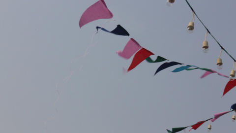 Party flags on the windy sky Live Action
