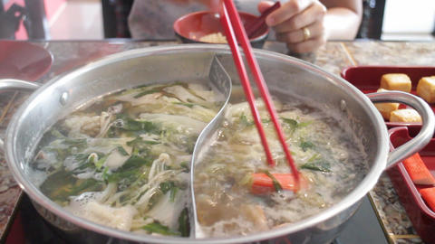 Delicious hot pot shabu meal with seafood Footage